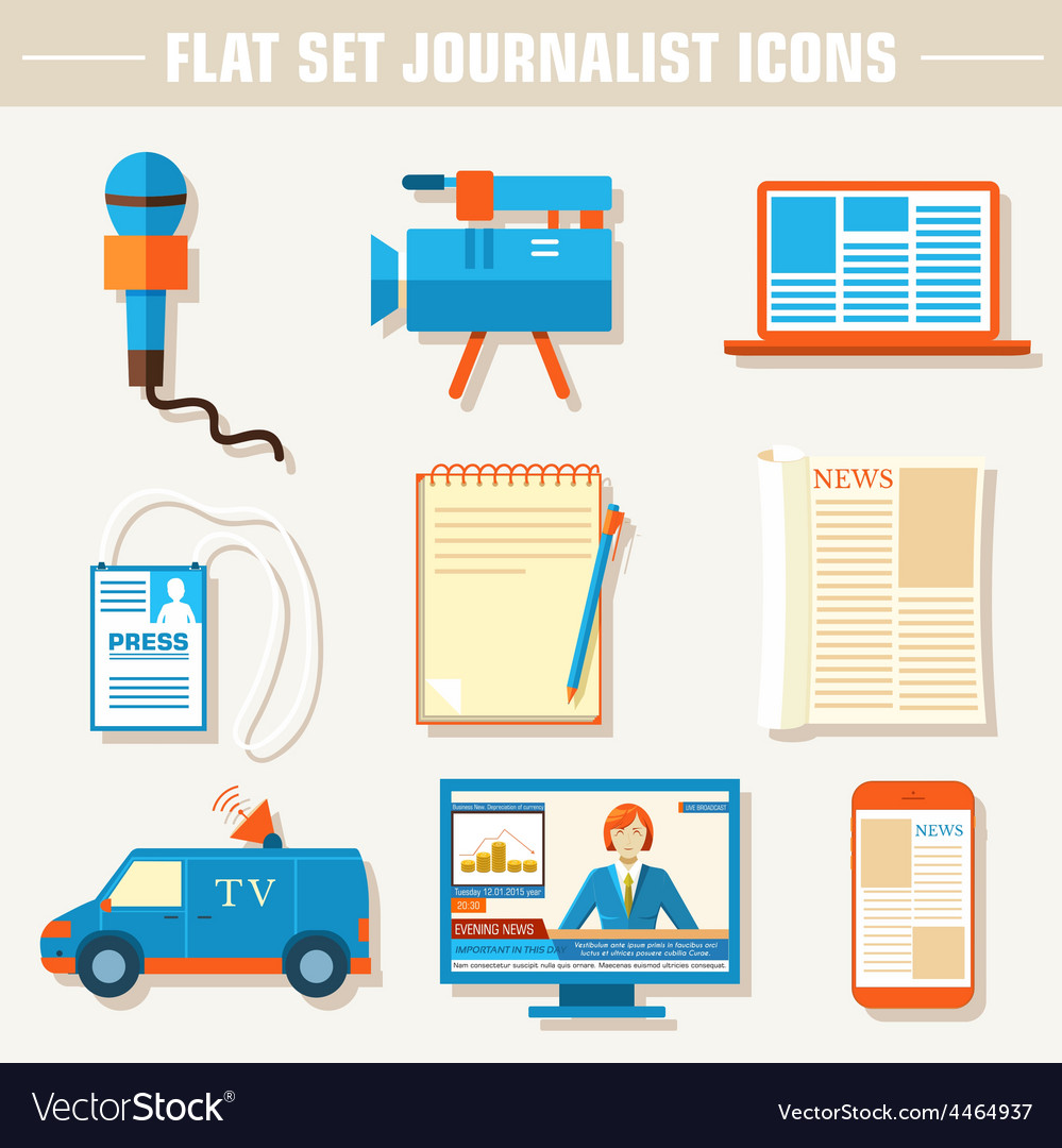 Flat set of equipment for journalism background vector | Price: 1 Credit (USD $1)