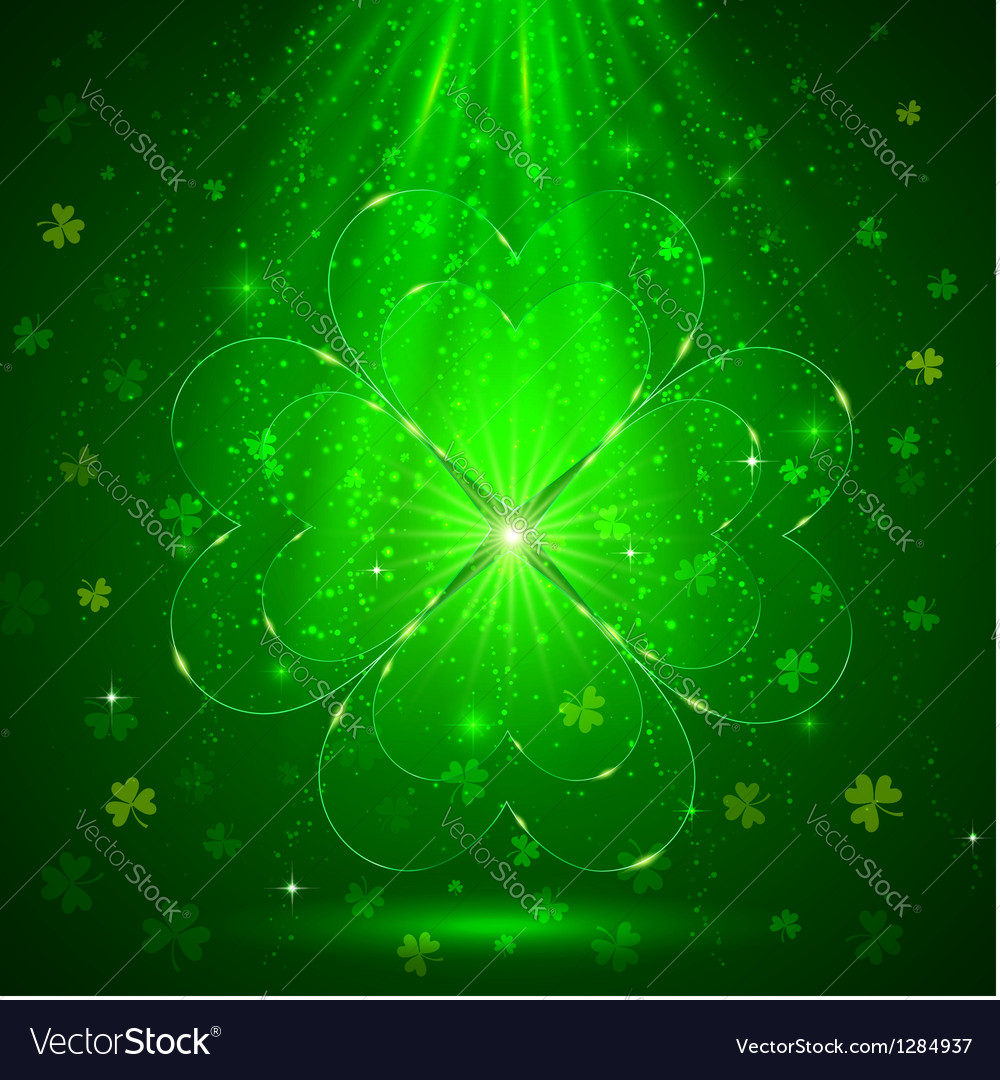 Green glass clover in the magic light background vector | Price: 1 Credit (USD $1)