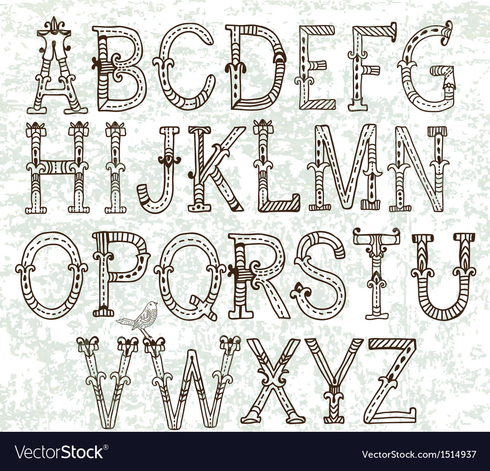 Hand drawn vintage alphabet vector | Price: 1 Credit (USD $1)
