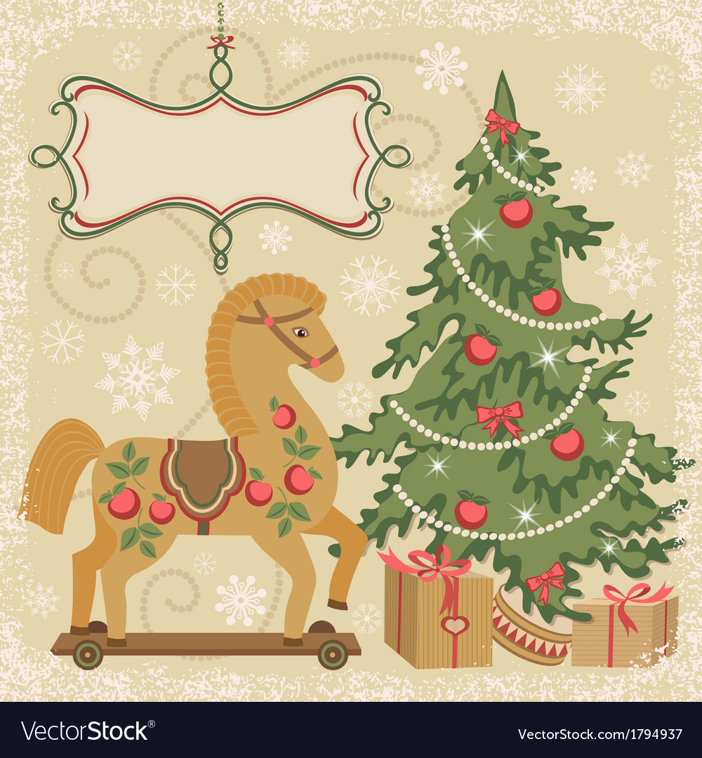 Horse and christmas tree with gifts vector | Price: 1 Credit (USD $1)