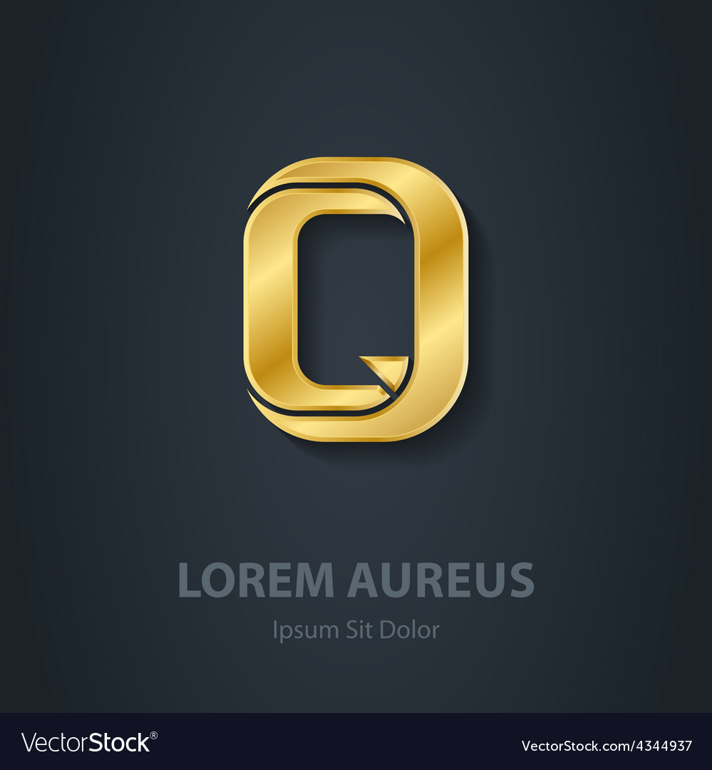 Letter q elegant gold font template for company vector | Price: 1 Credit (USD $1)