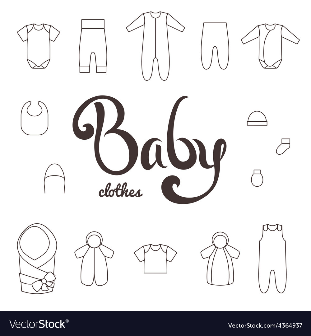Lettering with icons clothes newborn vector | Price: 1 Credit (USD $1)