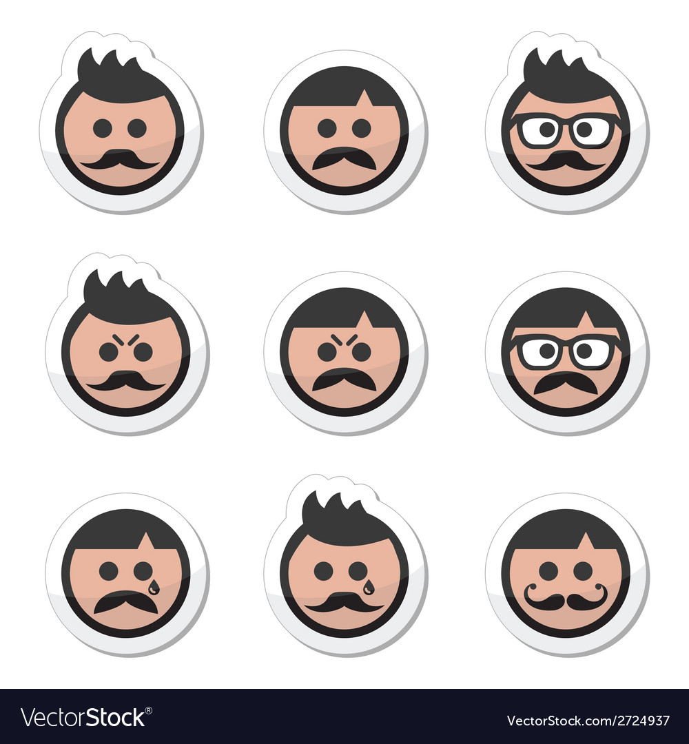Man with moustache or mustache avatar labe vector | Price: 1 Credit (USD $1)