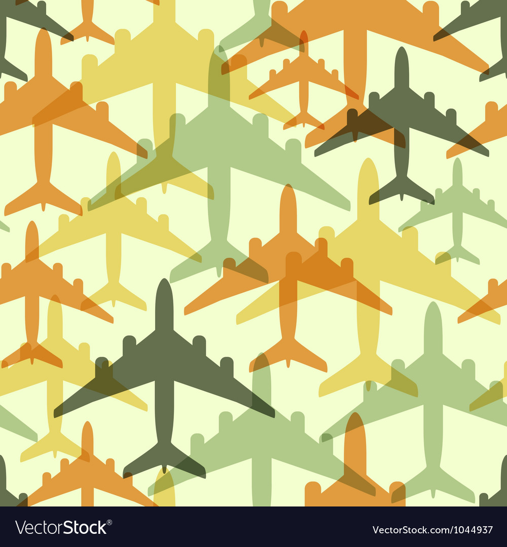 Seamless background pattern with airplanes vector