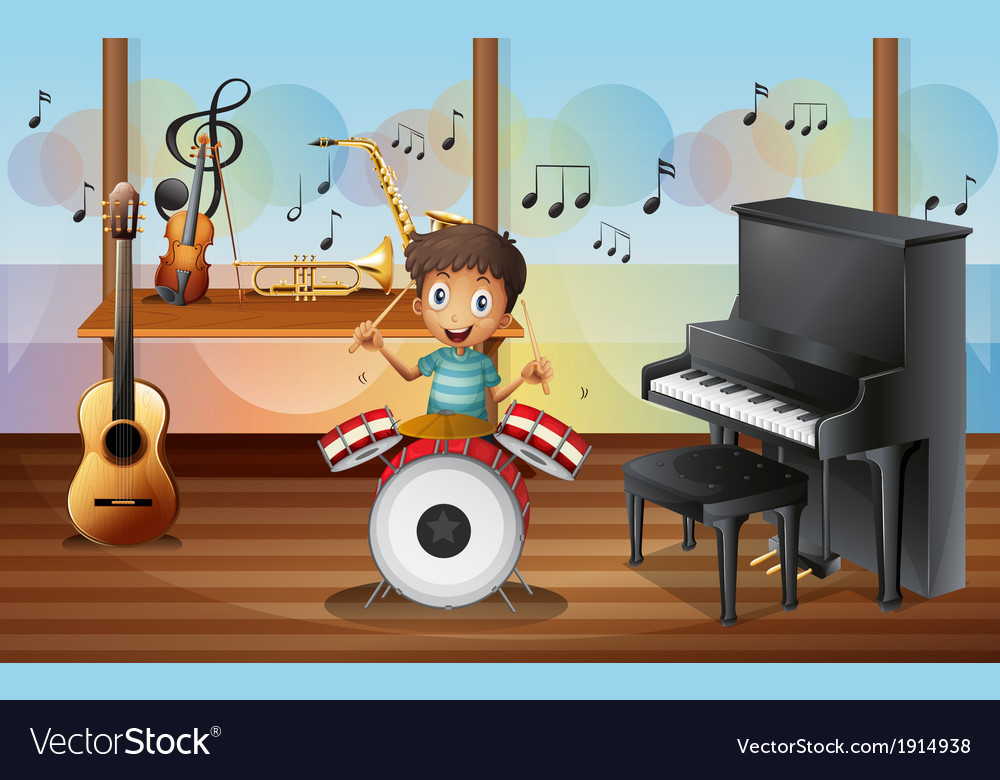A happy drummerboy inside the music room vector | Price: 3 Credit (USD $3)