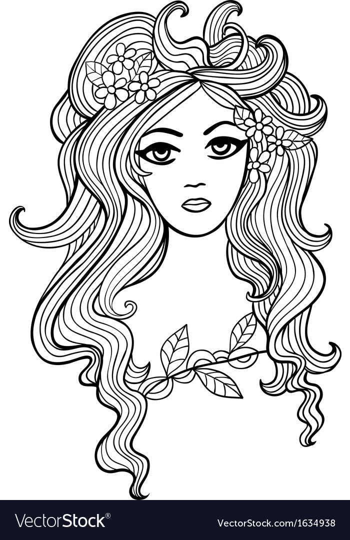 Black and white outline girl for your design vector | Price: 1 Credit (USD $1)