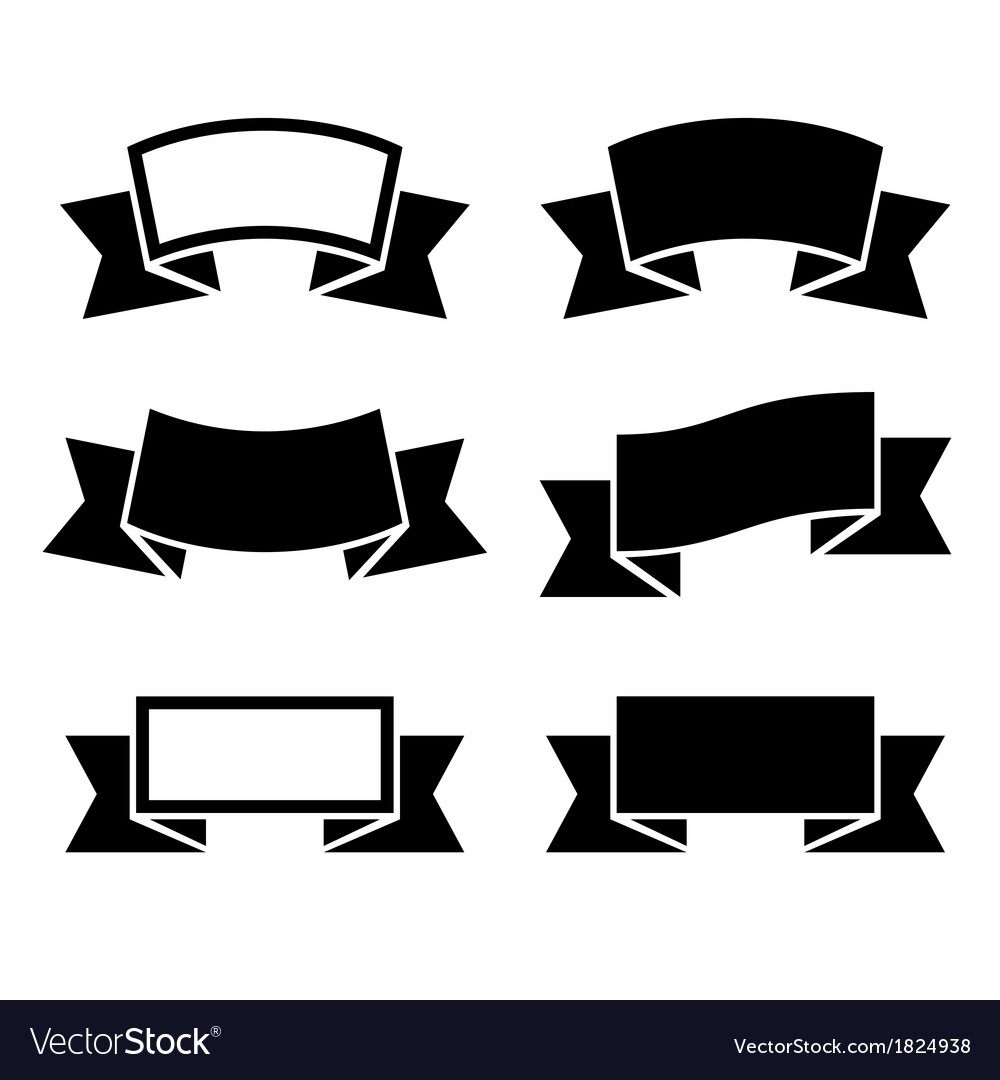 Black ribbons icons set vector | Price: 1 Credit (USD $1)