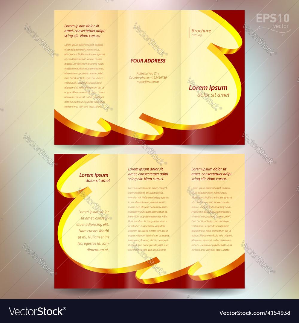 Brochure design template folder leaflet ribbon vector | Price: 1 Credit (USD $1)