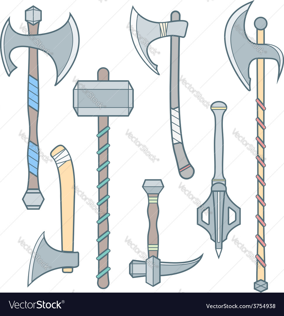 Cold weapons colored outline set vector | Price: 1 Credit (USD $1)
