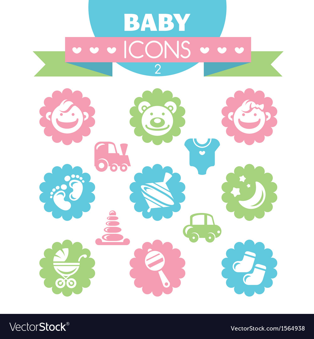 Collection of universal baby icons vector | Price: 1 Credit (USD $1)