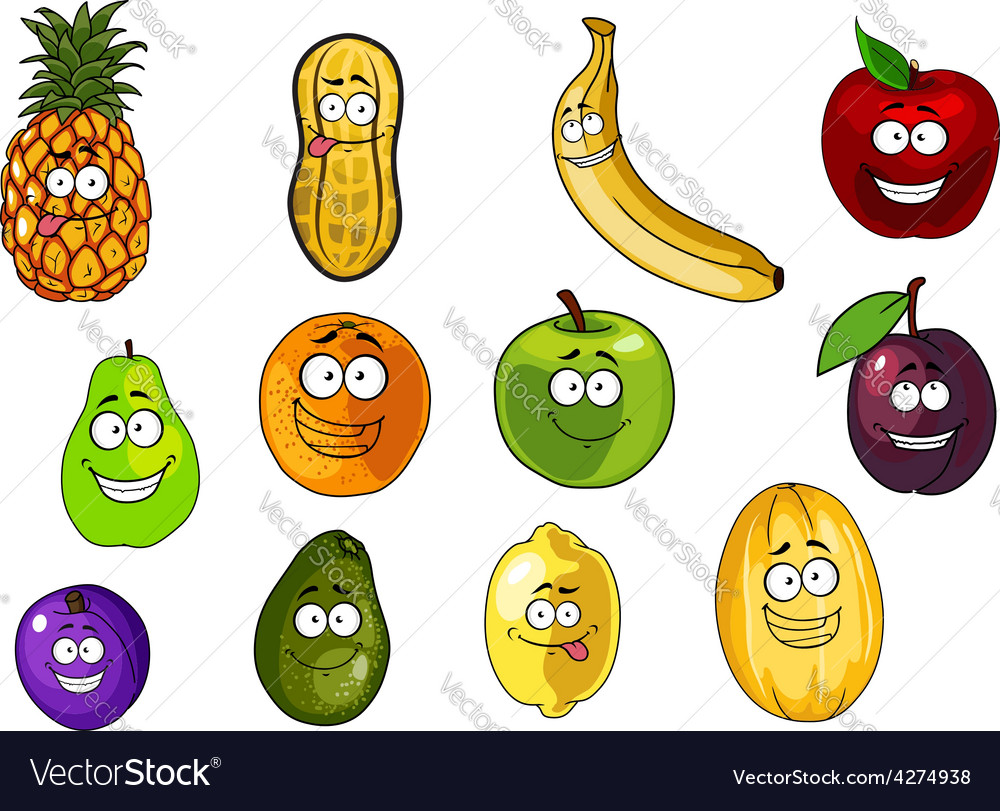Colorful fruits and vegetables cartoon characters vector | Price: 1 Credit (USD $1)