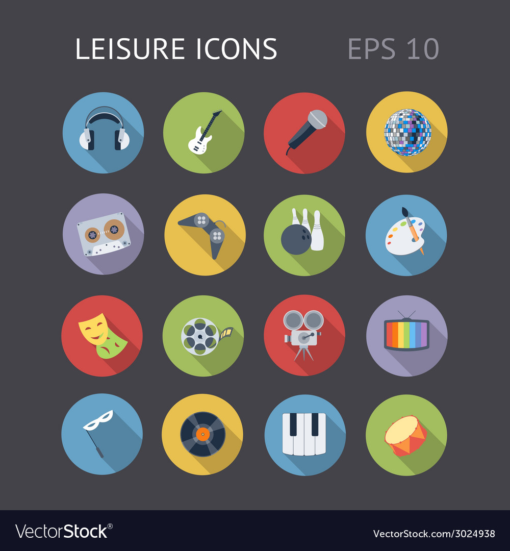 Flat icons for leisure vector | Price: 1 Credit (USD $1)