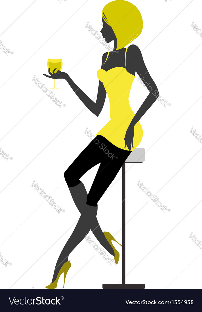 Girl sits in bar with glass in hand vector | Price: 1 Credit (USD $1)
