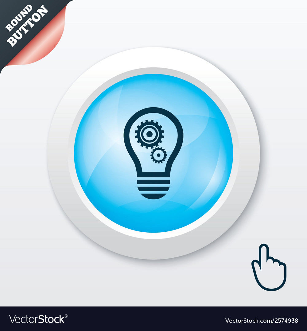 Light lamp sign icon bulb with gears symbol vector | Price: 1 Credit (USD $1)