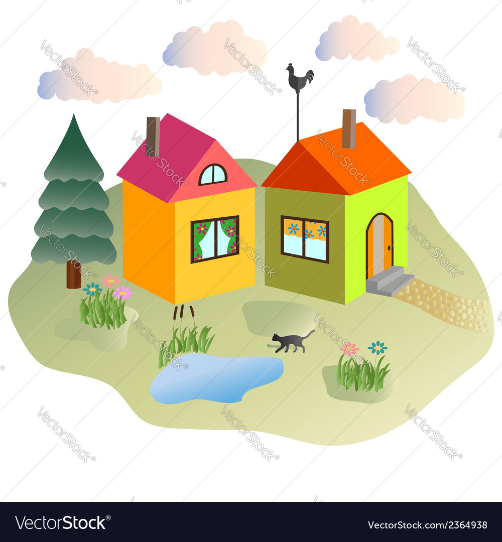 Rural lodges and the cat walking in the yard vector | Price: 1 Credit (USD $1)