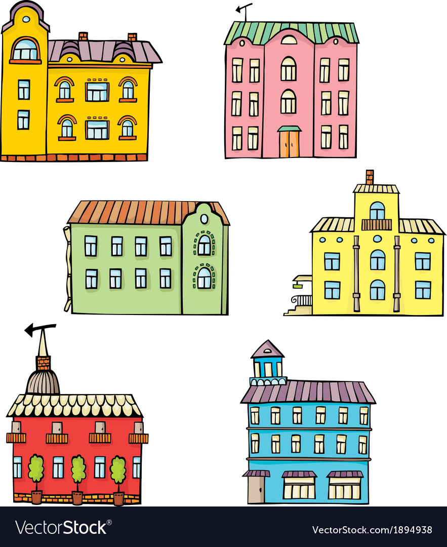Set with color houses vector | Price: 1 Credit (USD $1)