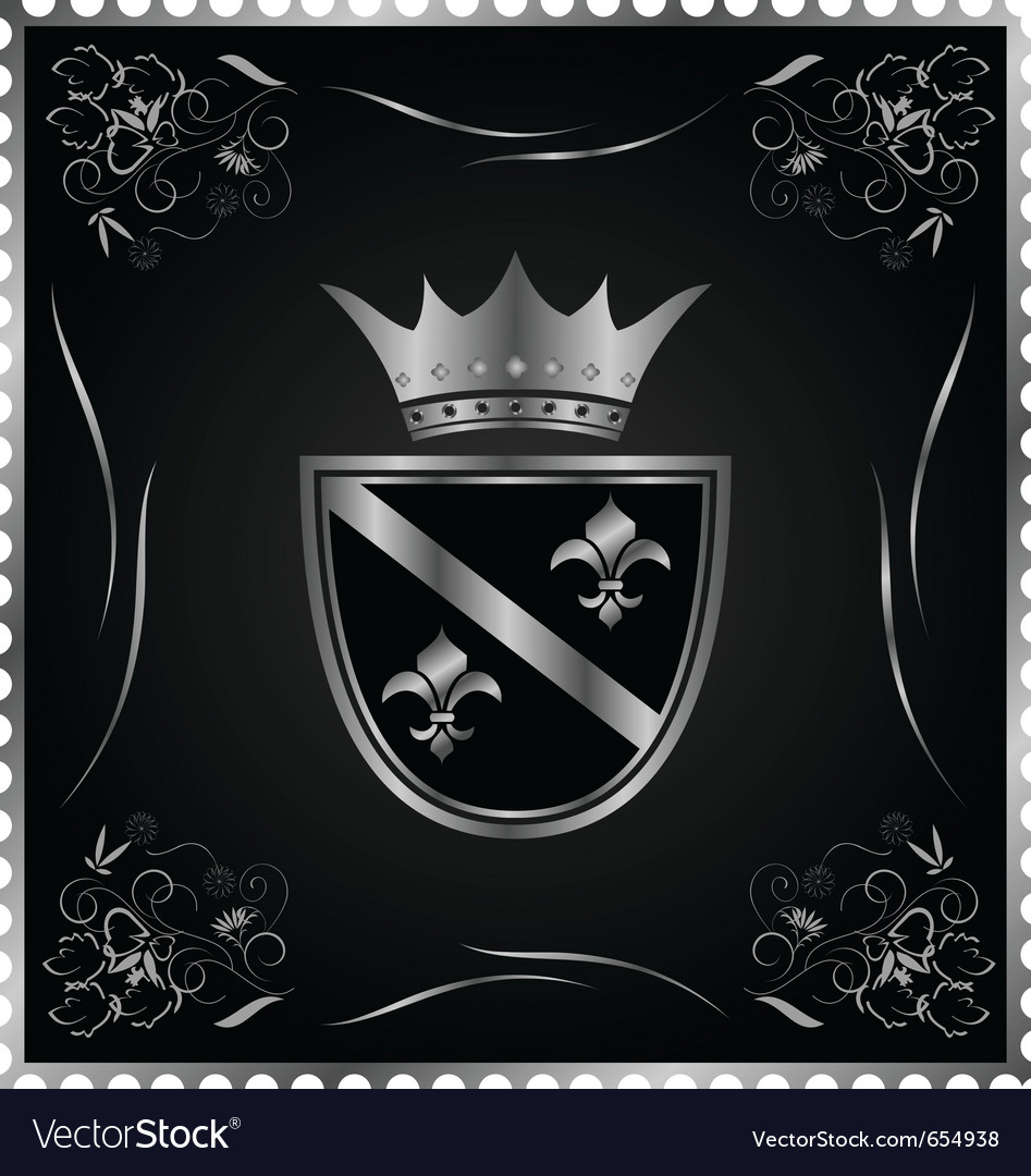 Vintage post mark with silver heraldic elements - vector | Price: 1 Credit (USD $1)