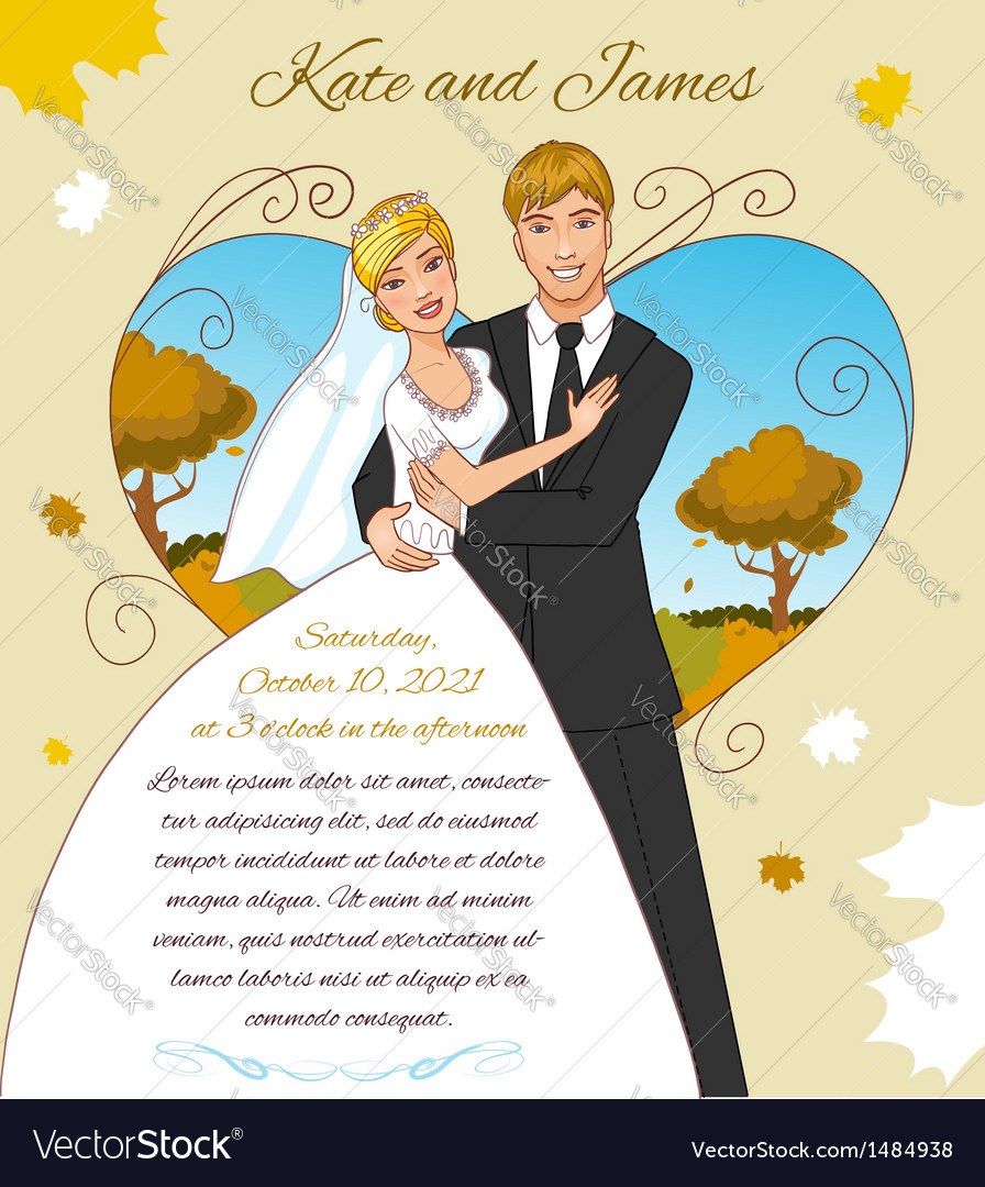 Young couple on the autumn background vector | Price: 3 Credit (USD $3)