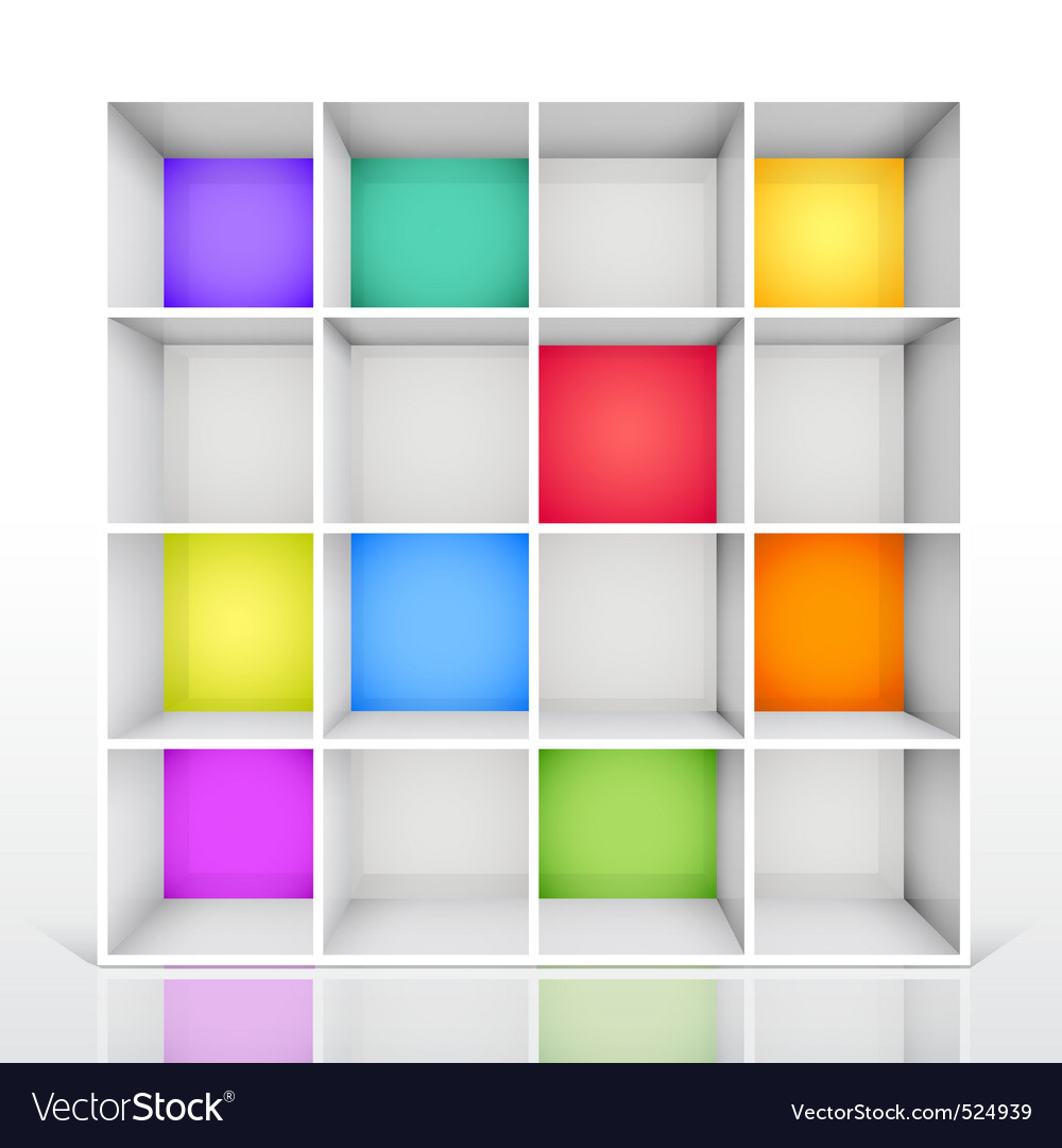 3d isolated empty colorful bookshelf vector | Price: 3 Credit (USD $3)