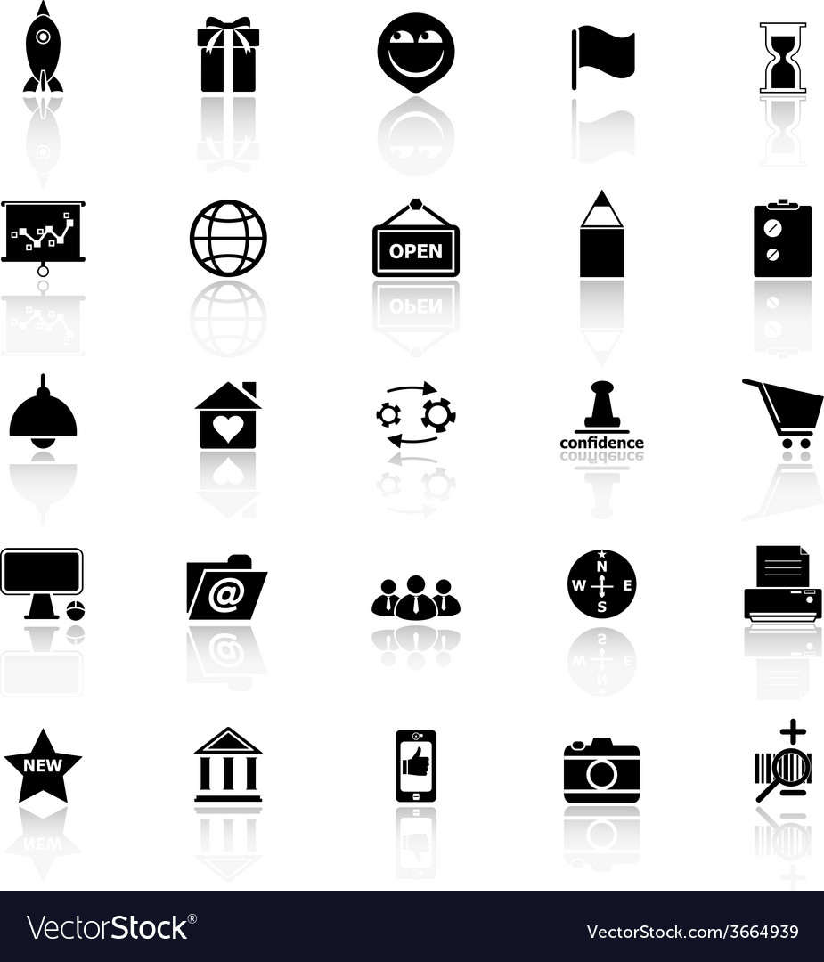 Business startup icons with reflect on white vector   Price: 1 Credit (USD $1)