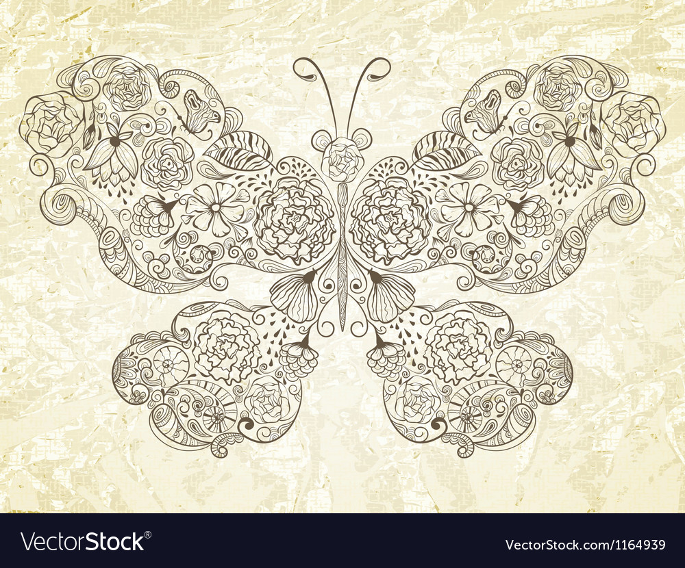 Butterfly made of flowers vector | Price: 1 Credit (USD $1)