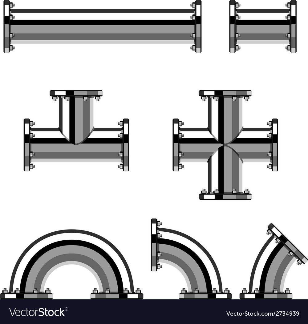 Chrome pipes with flange vector | Price: 1 Credit (USD $1)