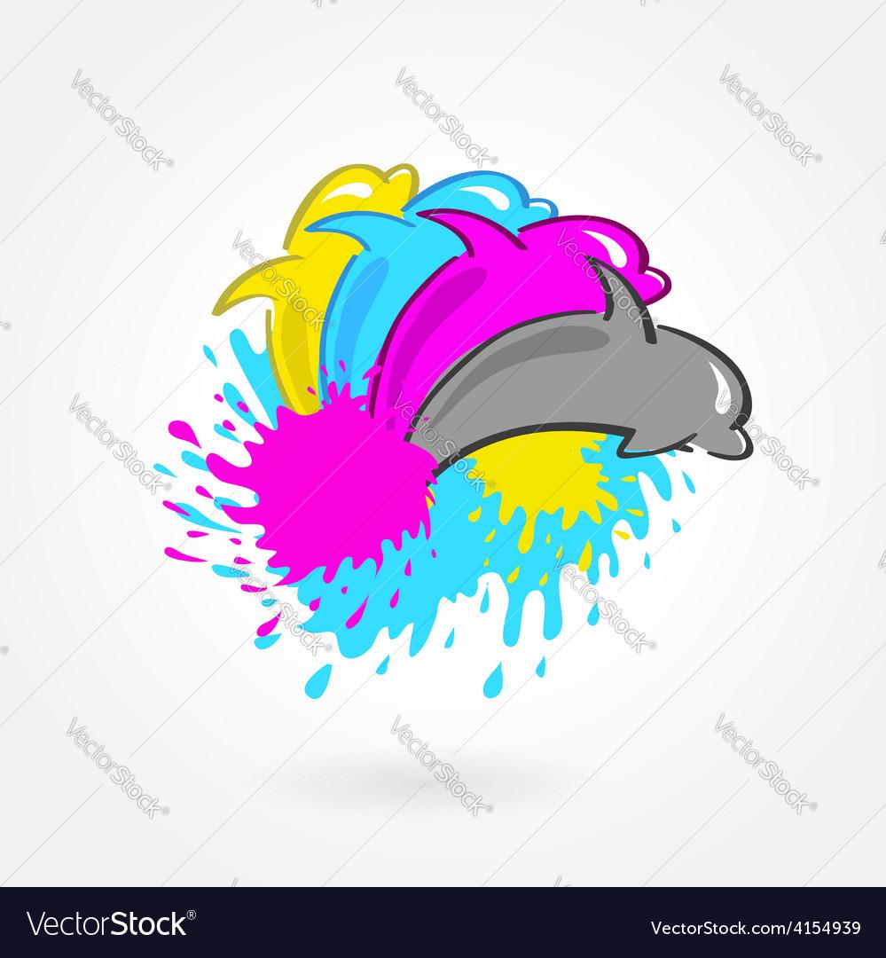 Dolphin print symbol cmyk vector | Price: 1 Credit (USD $1)