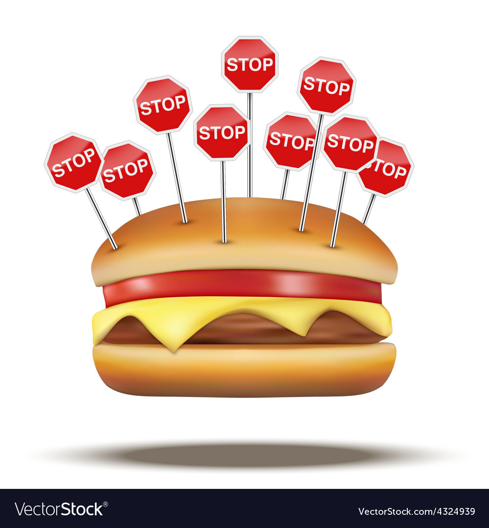 Fast food burger with stop signs vector | Price: 1 Credit (USD $1)