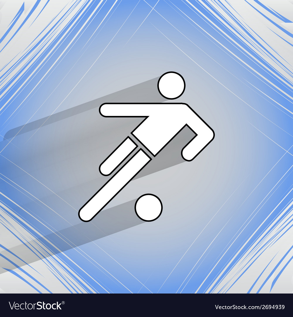 Football player flat modern web button on a flat vector | Price: 1 Credit (USD $1)