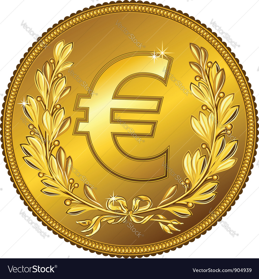 Gold money euro coin vector | Price: 1 Credit (USD $1)