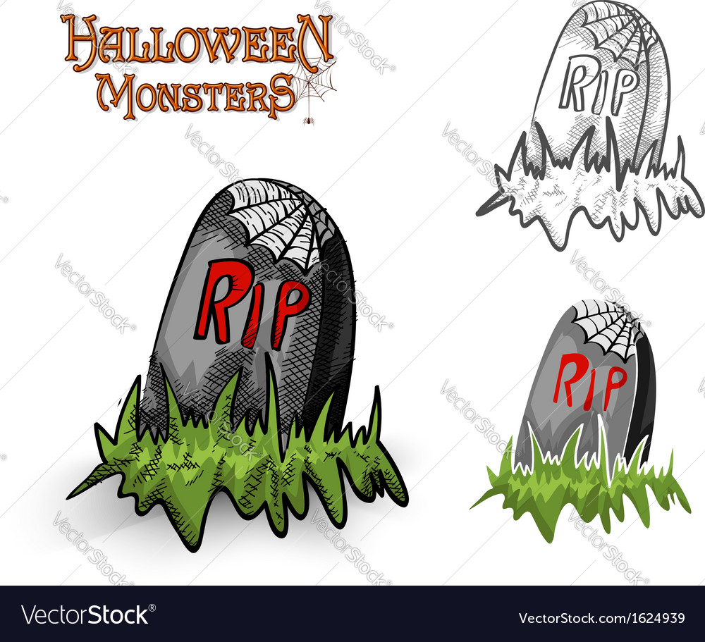 Halloween monsters spooky tombstone eps10 file vector | Price: 1 Credit (USD $1)