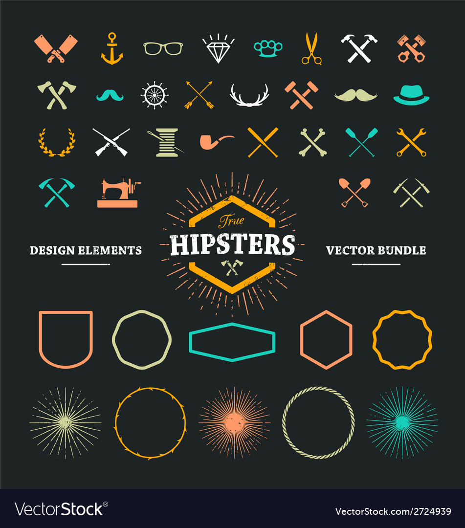 Hipster elements 1 vector | Price: 1 Credit (USD $1)