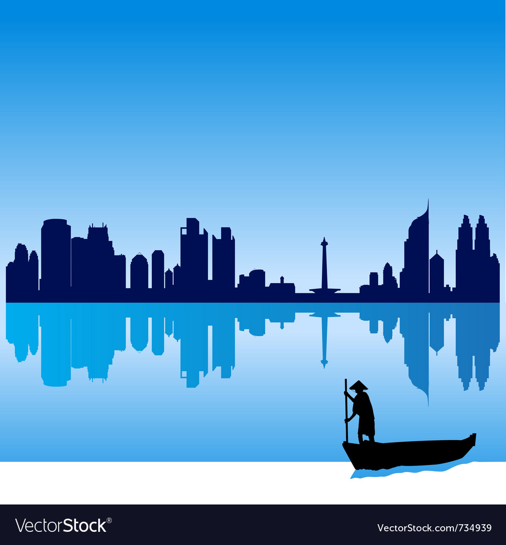 Jakarta silhouette skyline vector | Price: 1 Credit (USD $1)