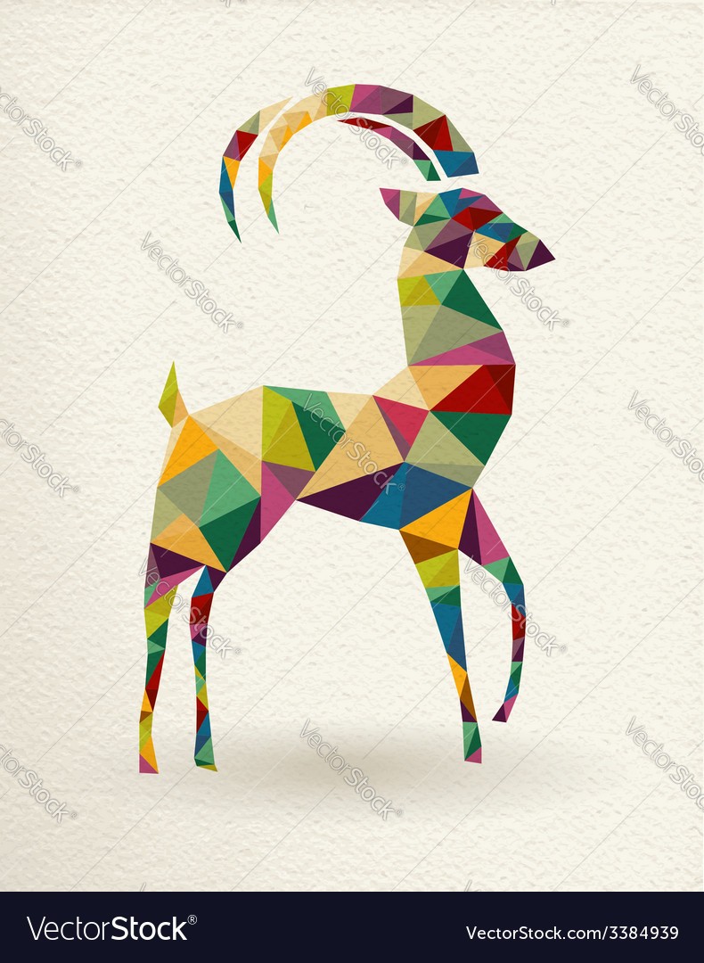 New year of the triangle goat 2015 card vector | Price: 1 Credit (USD $1)
