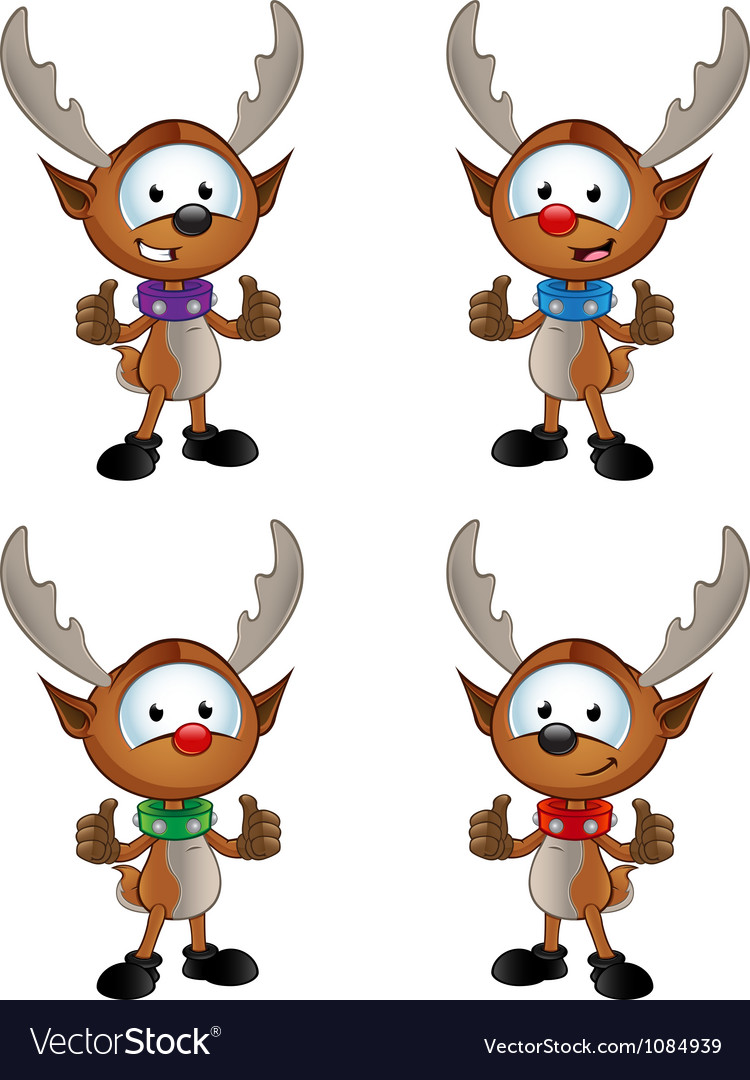 Reindeer character two thumbs up vector | Price: 3 Credit (USD $3)