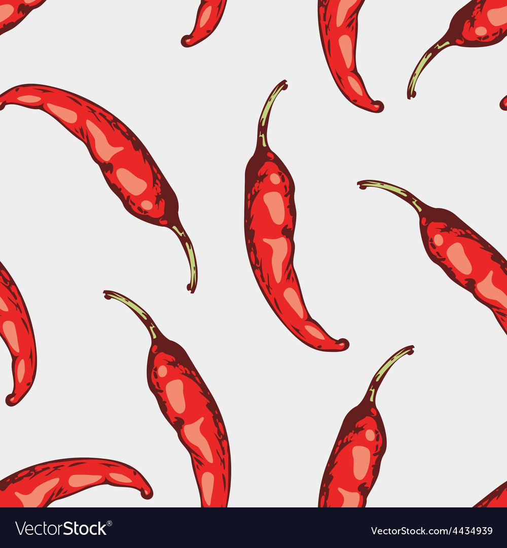 Seamless pattern with hand drawn spicy chili vector | Price: 1 Credit (USD $1)