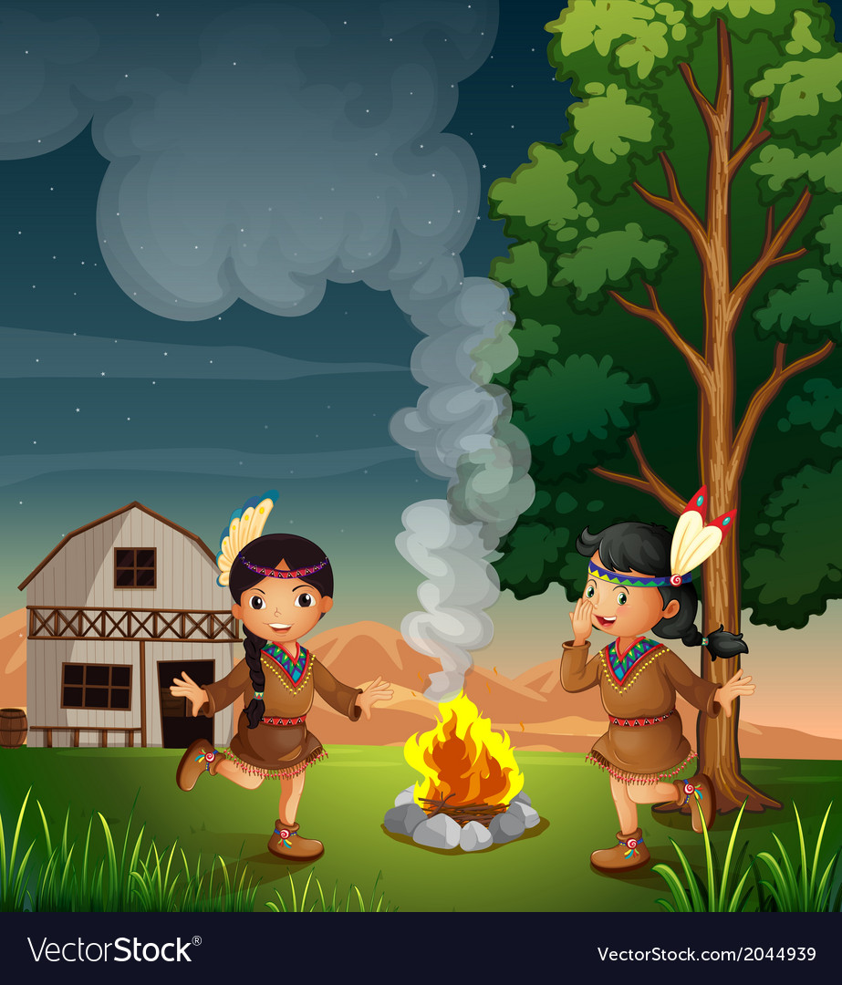 Two little indians with a campfire vector | Price: 3 Credit (USD $3)