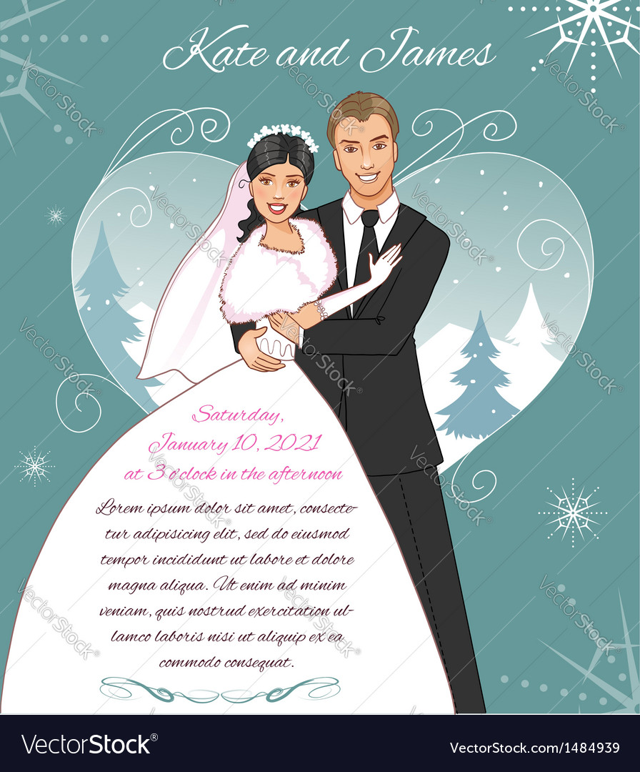 Young couple on the winter background vector | Price: 3 Credit (USD $3)