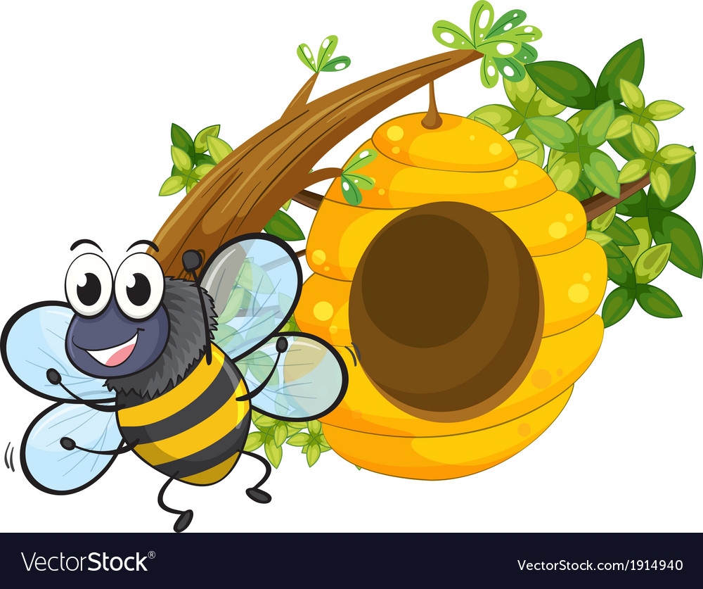 A smiling bee near the big beehive vector | Price: 3 Credit (USD $3)