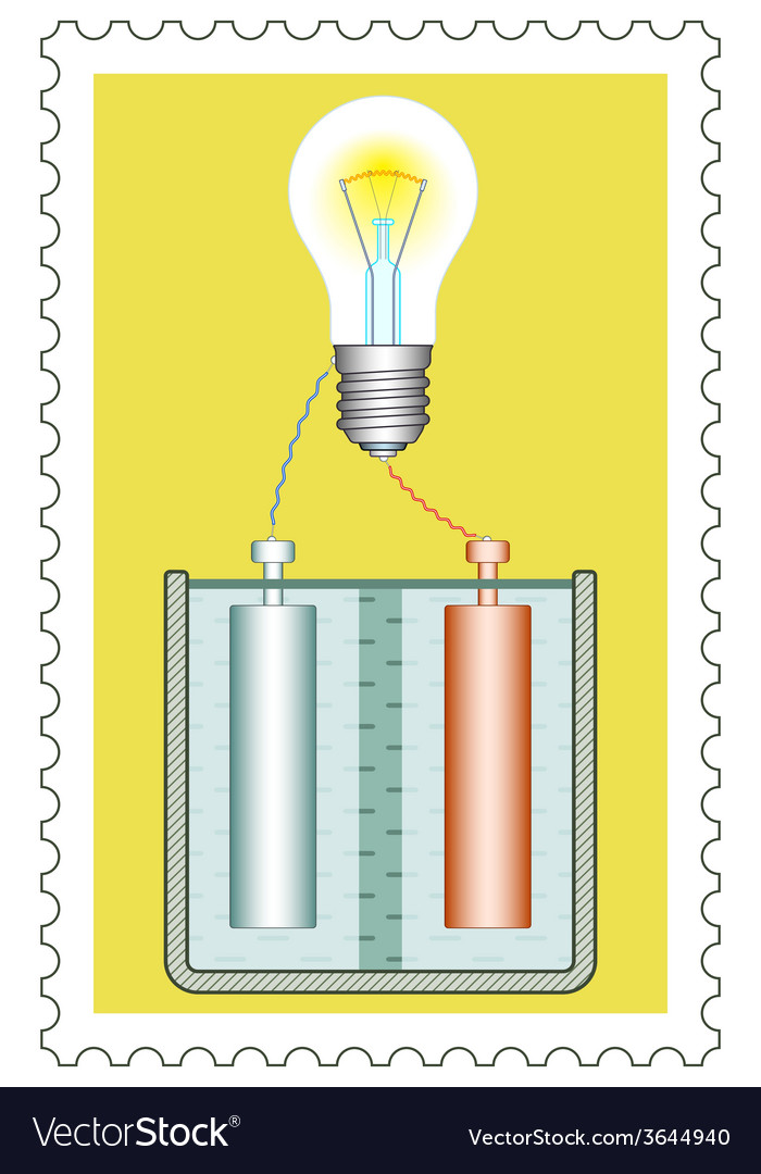 Battery and lamp on stamp vector | Price: 1 Credit (USD $1)