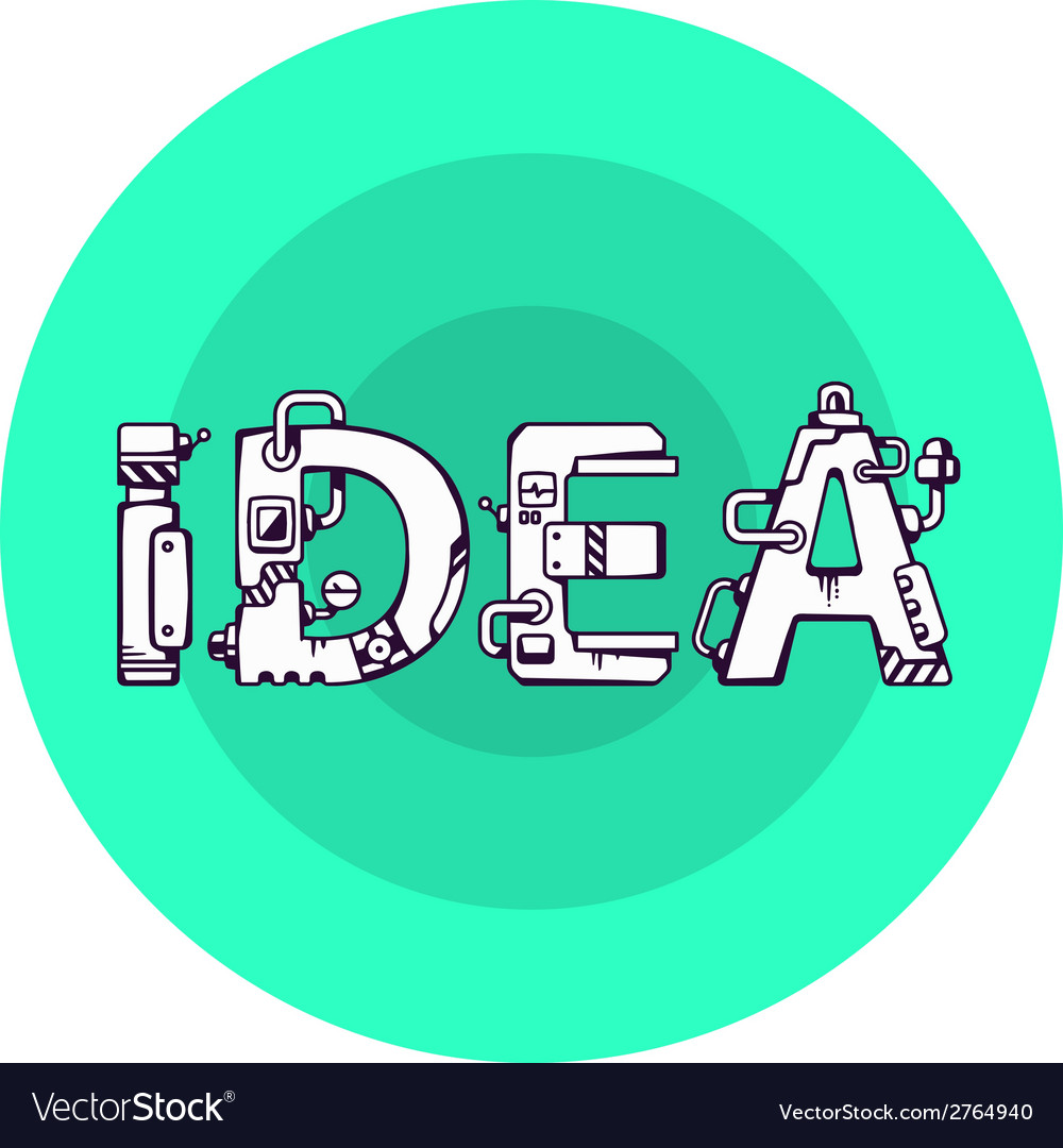 Bright of the word idea in techno style on a vector | Price: 1 Credit (USD $1)