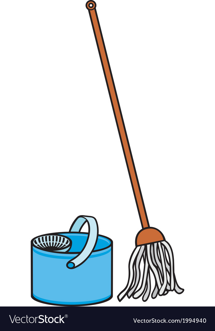 Bucket and cleaning mop vector | Price: 1 Credit (USD $1)