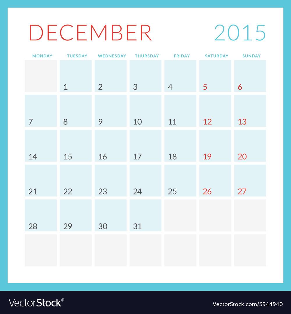 Calendar 2015 flat design template december week vector   Price: 1 Credit (USD $1)