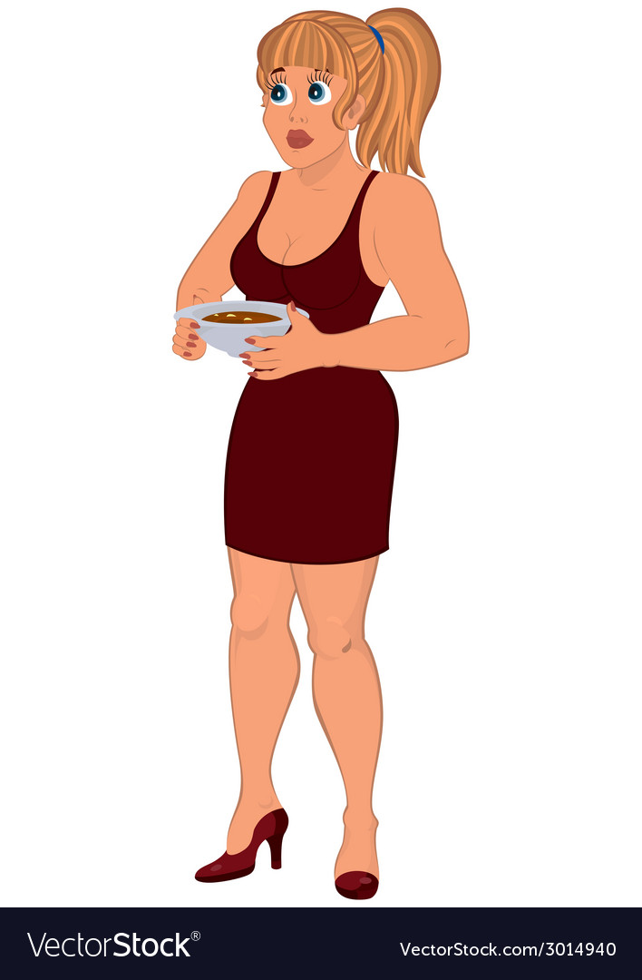 Cartoon woman in brown dress with plate of soup vector | Price: 1 Credit (USD $1)