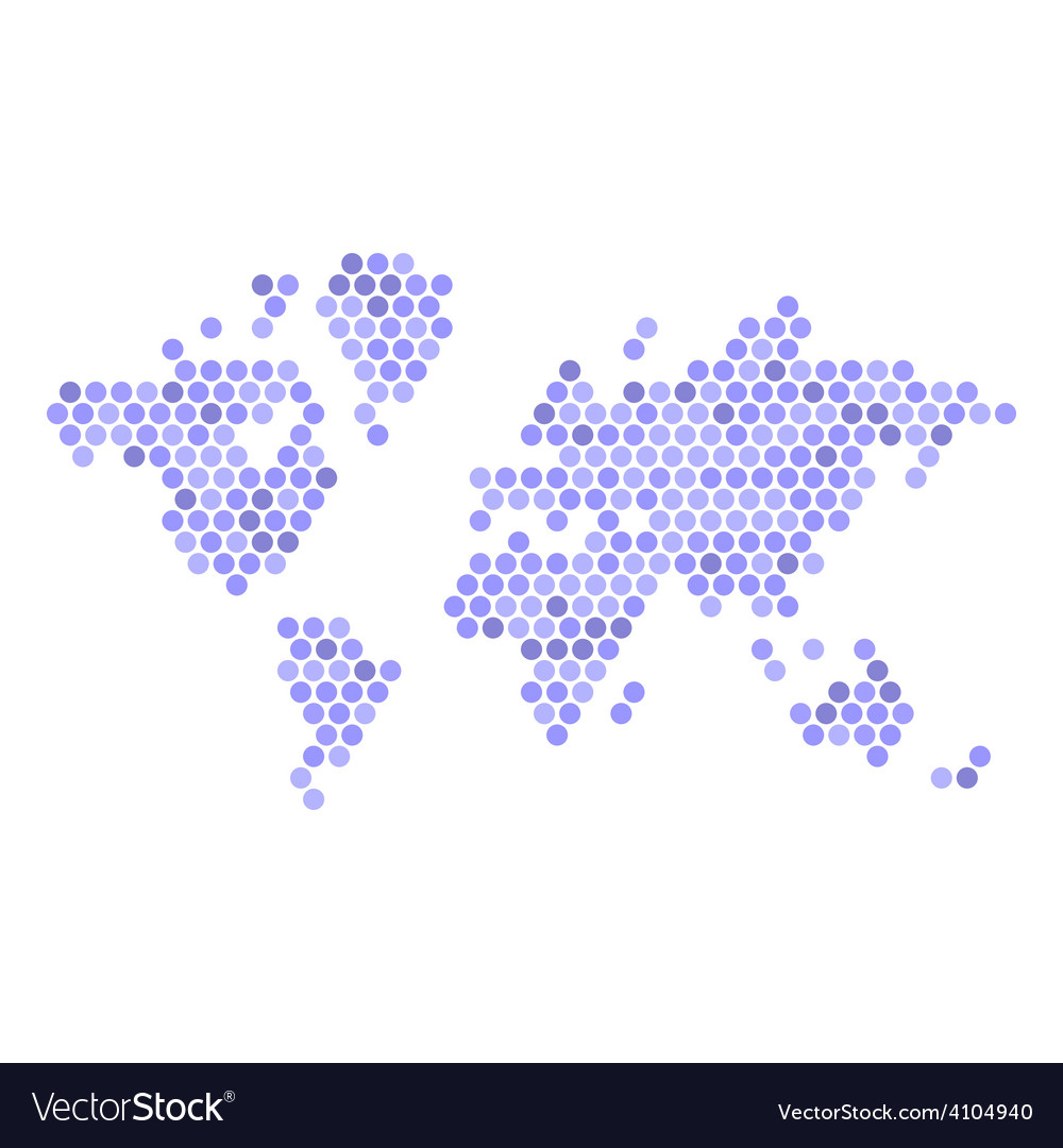 Dotted blue world map isolated on white vector | Price: 1 Credit (USD $1)