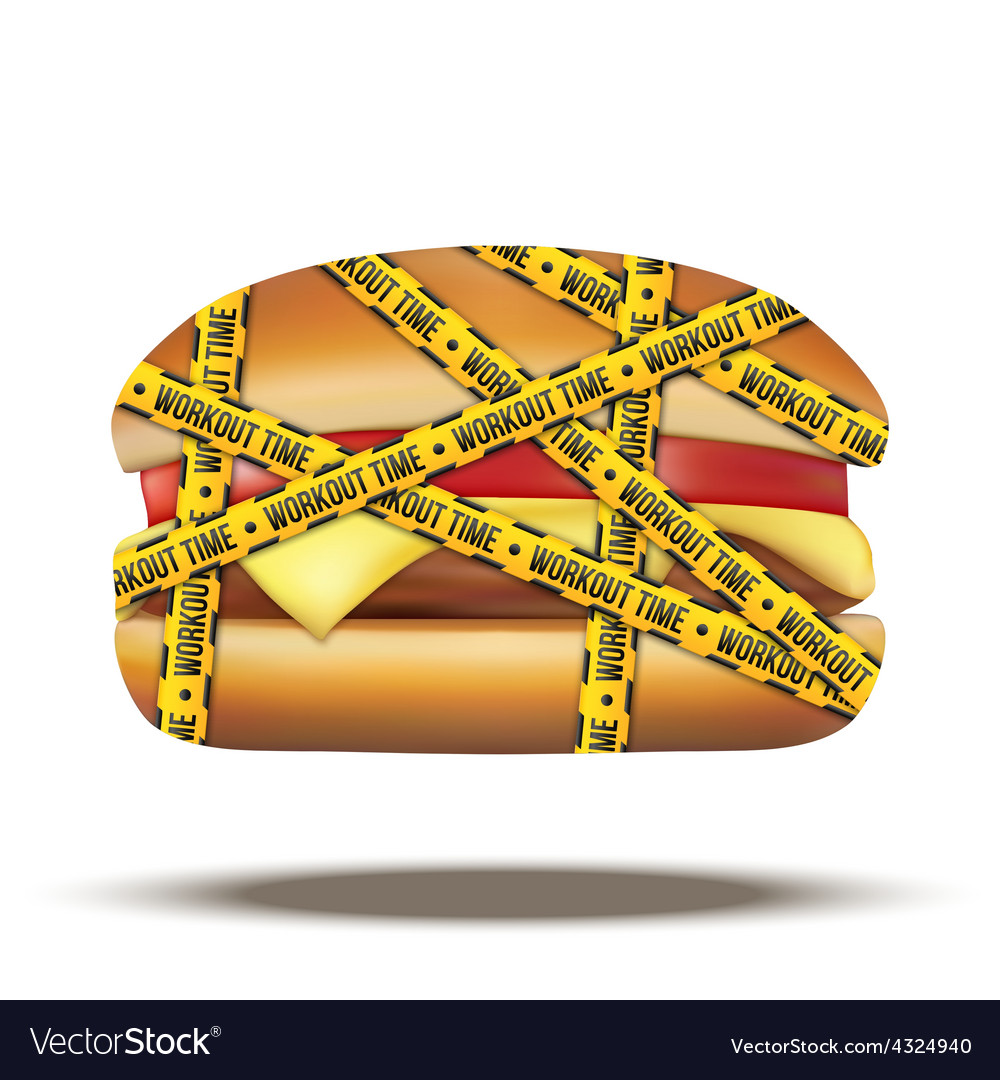 Fast food burger with workout time tapes vector | Price: 1 Credit (USD $1)