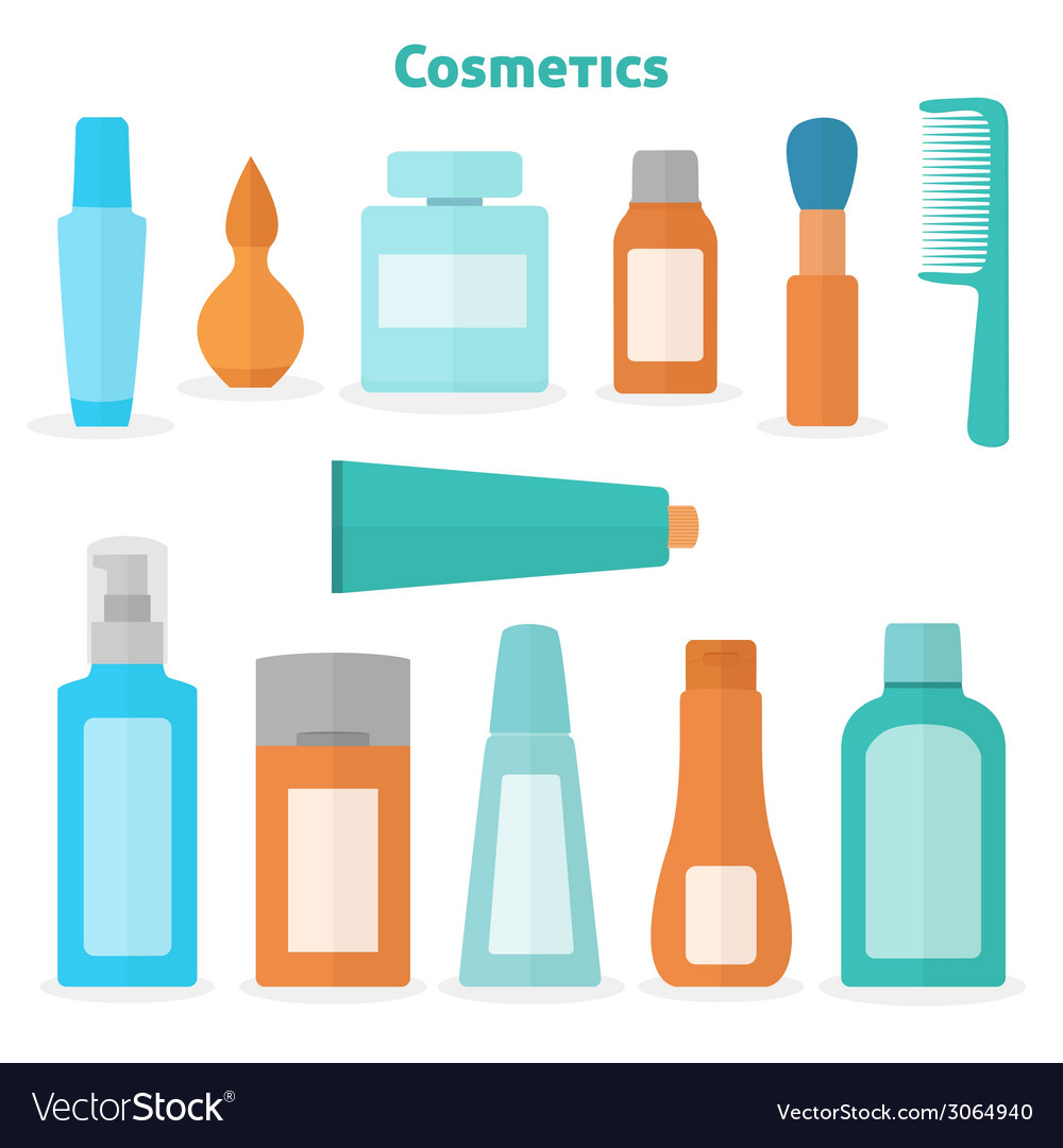 Flat cosmetic icons set vector   Price: 1 Credit (USD $1)