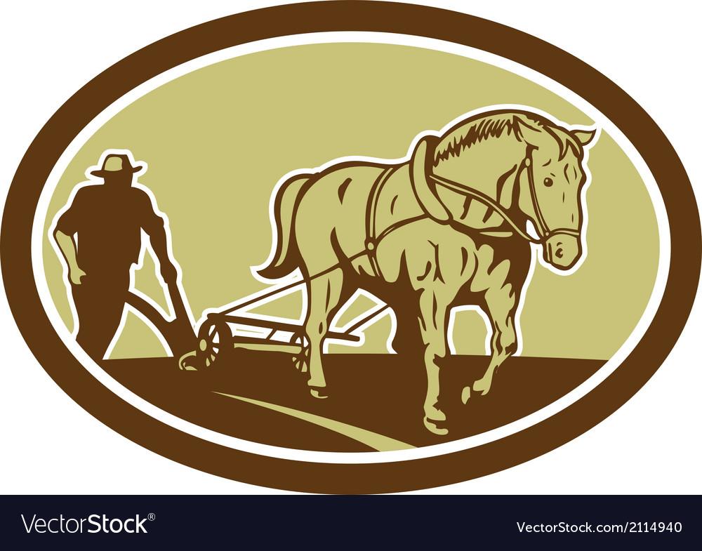 Horse and farmer plowing farm oval retro vector | Price: 1 Credit (USD $1)