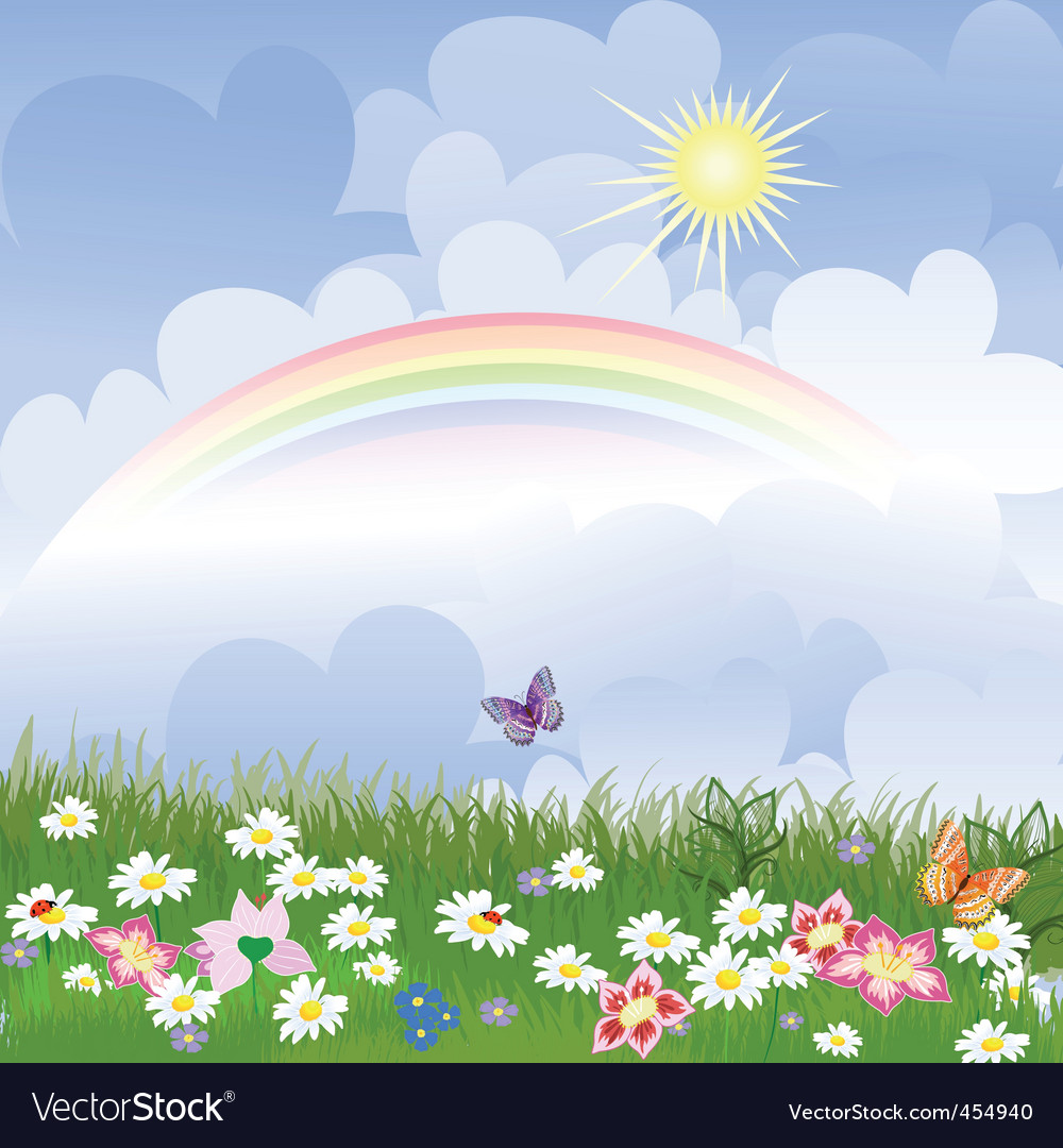 Landscape with rainbow vector | Price: 1 Credit (USD $1)
