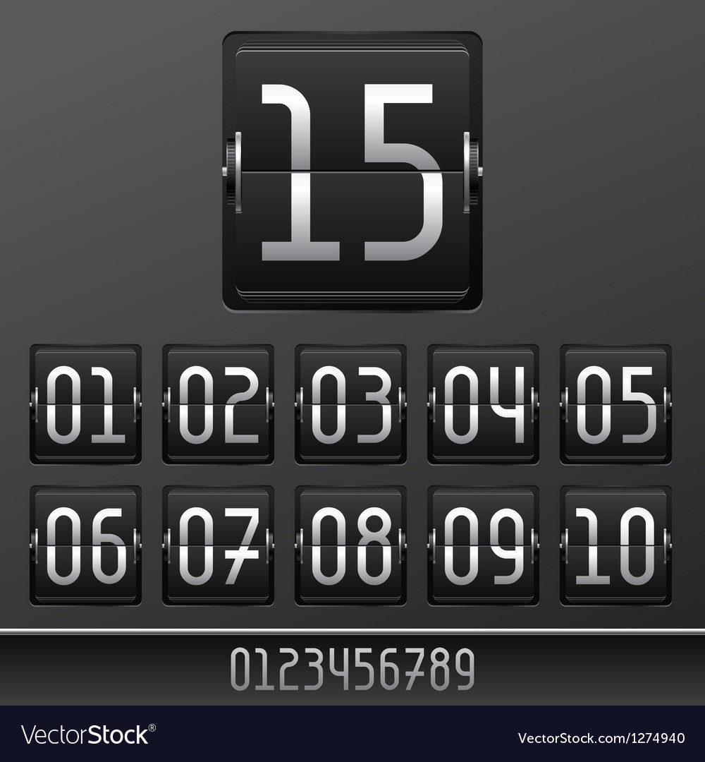 Mechanical scoreboard numbers panel background vector | Price: 1 Credit (USD $1)